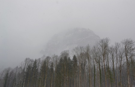 snow covered mountain: A snow covered mountain in the Bavarian countryside barely visible above the frozen tree line Stock Photo