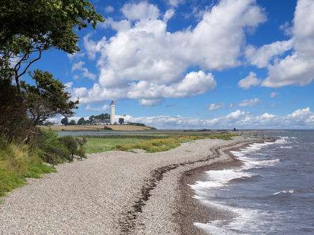 Beach at the lighthouse Keldsnor Fyr Langeland, Denmark