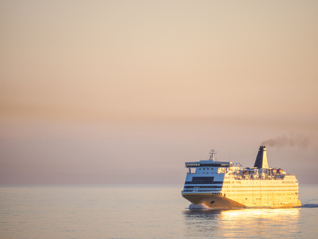 Ferryboat at Sunrise Stock Photo