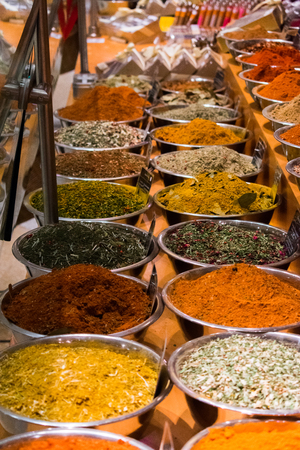 Cooking spices at a food market.
