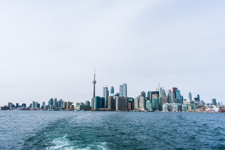 Toronto city skyline, on a winters day, view from Lake Ontario