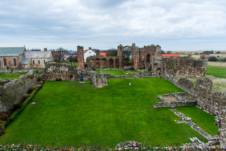 The ruins of the abby on the Holy Island of Lindisfarne