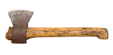 Axe with wooden handle. Old axe isolated.