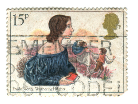 used stamp: UNITED KINGDOM - CIRCA 1980: A used postage stamp printed in UK, showing Emily Bronte: Wuthering Heights