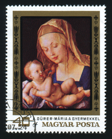 albrecht: HUNGARY - CIRCA 1978: The postage stamp printed in HUNGARY shows a picture of artist Albrecht Durer. Virgin and Child. Maria a gyermekkel. Circa 1978