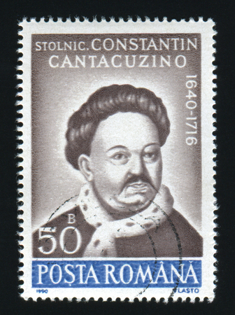 constantin: ROMANIA - CIRCA 1990: A post stamp printed in Romania, shows portrait of Constantin Cantacuzino, 1640 - 1716, circa 1990.