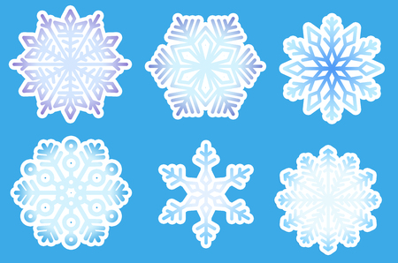 Set of Snowflakes. Winter elements. Blue snowflakes on blue background. Abstract pattern. Gradient
