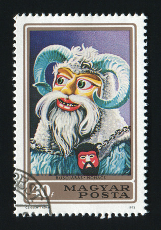 mohacs: HUNGARY- CIRCA 1973: A post stamp printed in Hungary, shows a Busojaras from town Mohacs, circa 1973 Editorial