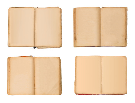 Set of open old books isolated, vintage book with blank yellow stained pages Stock Photo