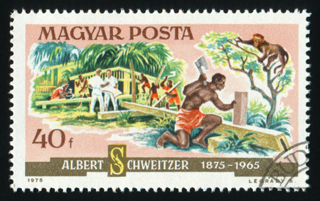 philately: HUNGARY - CIRCA 1975: A postage stamp printed in Hungary showing Albert Schweitzer, who built up a Lambarene Hospital in Africa, circa 1975. Editorial