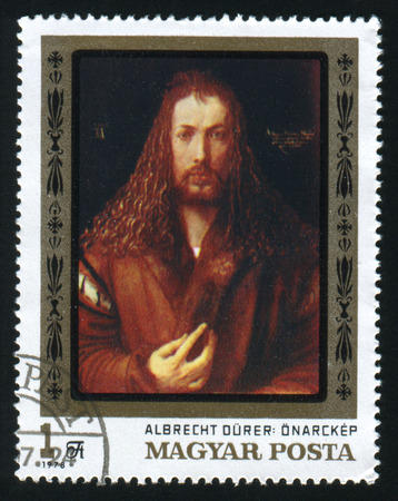 albrecht: HUNGARY - CIRCA 1978: A postage stamp printed in the Hungary shows painting Albrecht Durer self portrait from Alte Pinakothek Munich, circa 1978