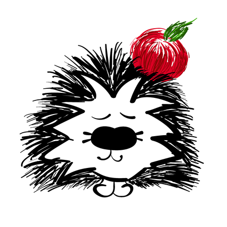 hedgehog with red apple on a white background