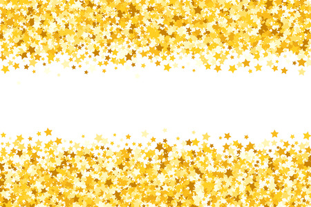 Border with shimmer stars. Gold sparkle. Golden frame of stars. Border. Confetti
