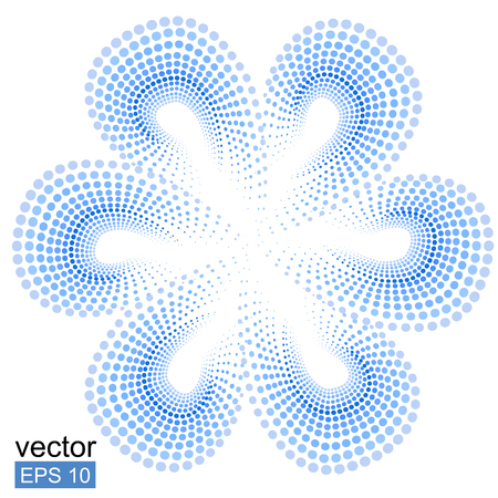 Blue tiare flower  doted pattern. Monoi flower. White background. Vector flower. Stock Photo