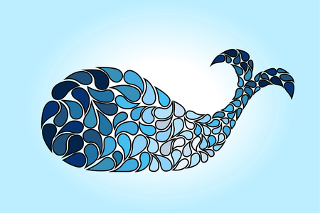 Blue abstract whale shape on a blue background.  イラスト・ベクター素材