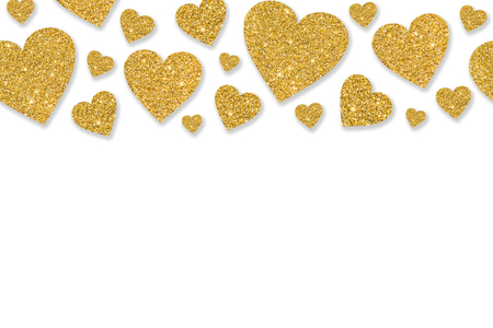 Border with golden hearts of sequin confetti. Glitter powder sparkling background. Valentines day background.