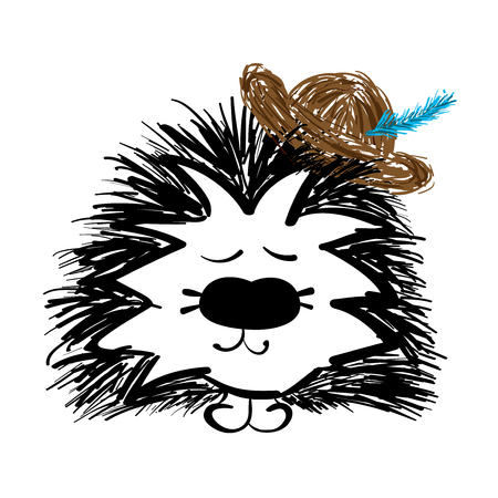 Beautiful handdrawn Hedgehog with hat on white
