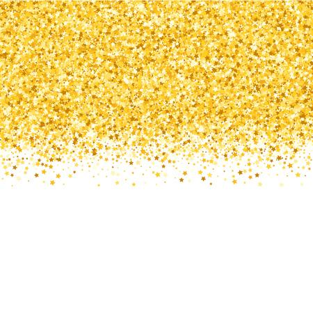 Border with shimmer stars. Gold sparkle. Golden frame of stars. Confetti