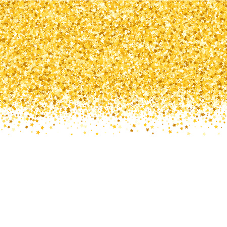 Border with shimmer stars. Gold sparkle. Golden frame of stars. Confetti