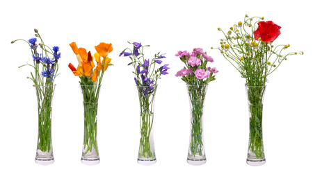 A set of different wildflowers in transparent vases. Spring flowers isolated on white background. A bouquet of cornflowers, tulips, poppies, chamomile in a vase.