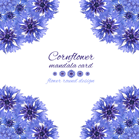 Card with flower mandala. Cornflower blue circular design