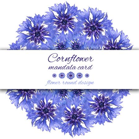Card with flower mandala. Cornflower blue circular design.
