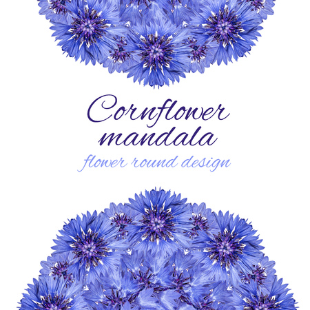 Card with flower mandala. Cornflower blue circular design.