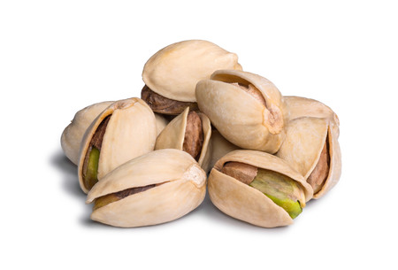 Group of pistachio isolated on white background. Stock Photo