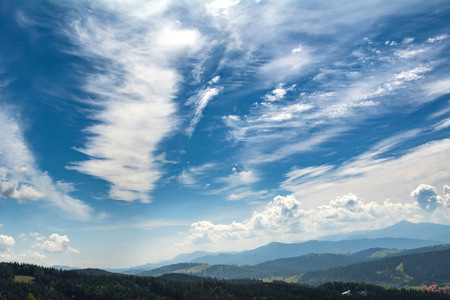Beautiful clouds over the mountains. Summer landscape. Ukrainian Carpathians.