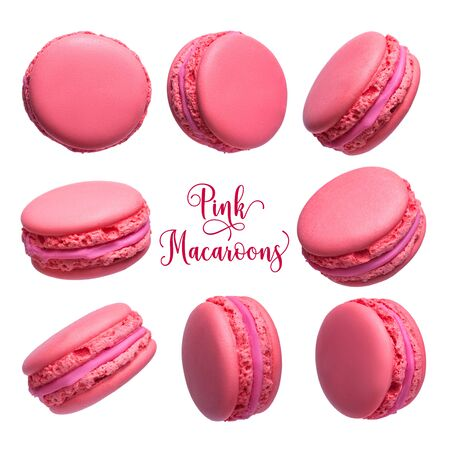 Set of pink french macarons cakes isolated on white background Reklamní fotografie
