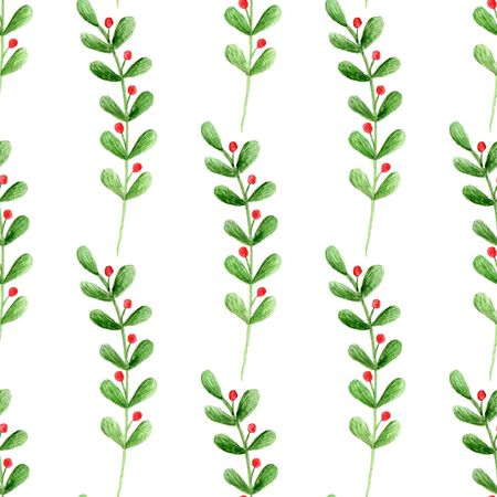 Seamless pattern with watercolor branches and berries on a white background. Hand-painted leaves ornament