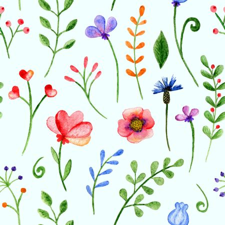 Seamless pattern with watercolor branches, flowers and berries on a blue background. Hand-painted ornament. Stock Photo
