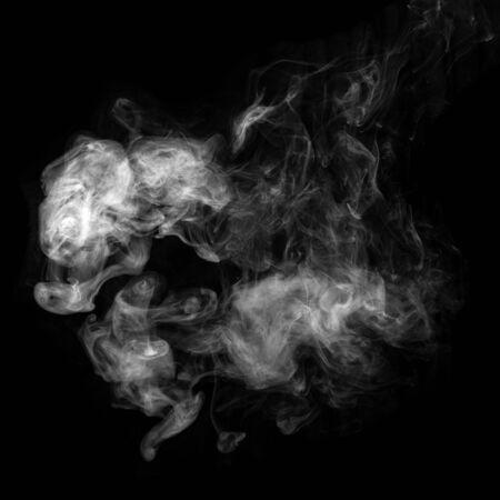 Photo of white smoke isolated on a black background. Stockfoto