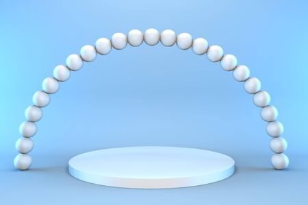 3d render round pedestal with pearls on a blue background. Minimalistic podium concept for goods. Reklamní fotografie