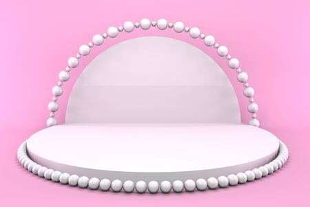 3d render round pedestal with pearls on a pink background. Minimalistic podium concept for goods.