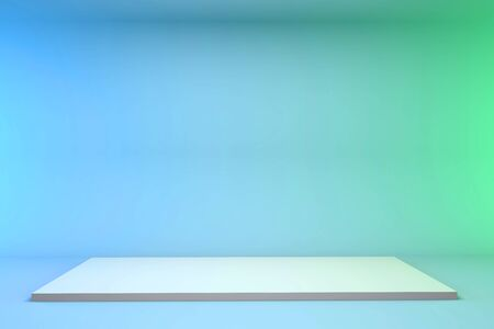 3d render pedestal on a blue-green background. Minimalistic podium concept for goods.