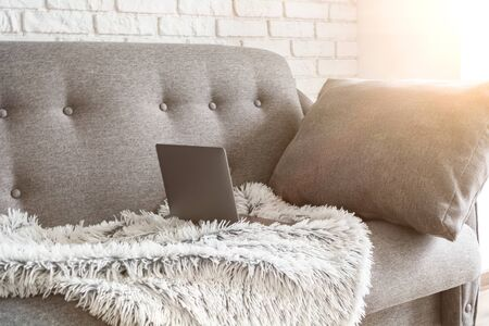 Work from home. Cozy workplace for remote work and business online. Sofa with a laptop. Quarantine concept.