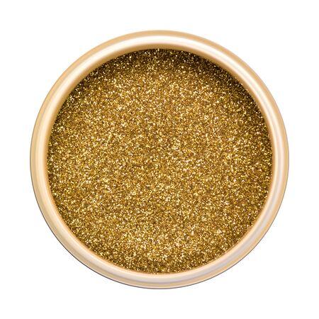 Jar with golden dry sparkles. Shiny powder, glitter.