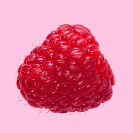 Fresh ripe raspberry on a pink background. Macro shot. Фото со стока