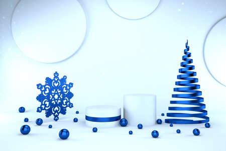 3d render of blue pedestal and sparkling balls, snowflake and abstract Christmas tree. Luxury minimalist mockup