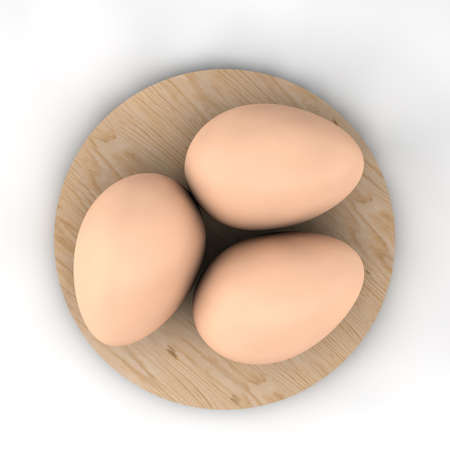 3d render of three chicken eggs on a round wooden board isolated on a white background.