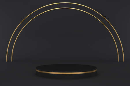 3d render of black pedestal with golden stripe and gold arch. Luxury minimalist mockup Фото со стока