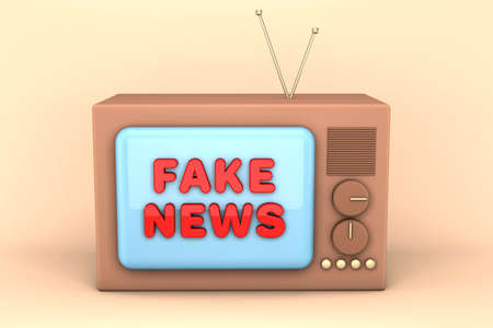 3d render of an old TV. Brown cartoon TV with an inscription on the screen. Fake news concept. Фото со стока