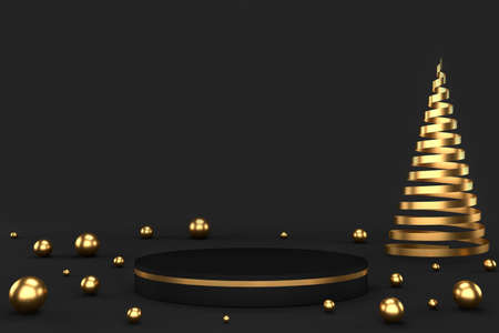 3d render of black pedestal and golden balls and abstract Christmas tree. Luxury minimalist mockup