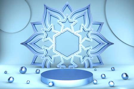 3d render of blue pedestal, big bright snowflake and balls. Christmas background. Luxury minimalist mockup Фото со стока