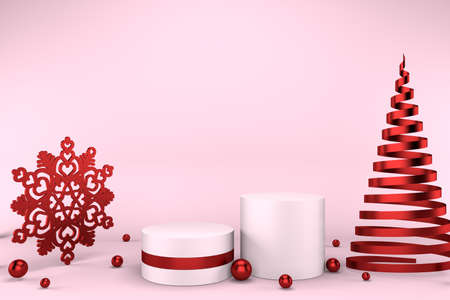 3d render of pink pedestal, red golden snowflake, balls and abstract Christmas tree. Luxury minimalist mockup