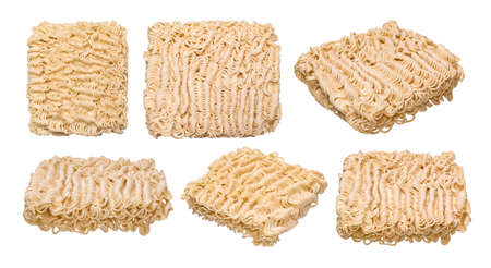 Set of instant noodles isolated on white background Фото со стока