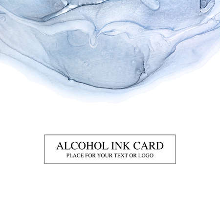 Card with blue and gold alcohol ink technique. Luxury abstract fluid art painting background. Invitation card or cover.