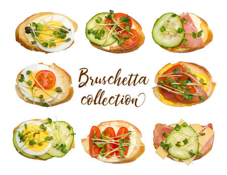 Collection of different bruschettes isolated on white background. Sauce, baguette, bacon, egg, tomatoes, cucumbers and microgreens.