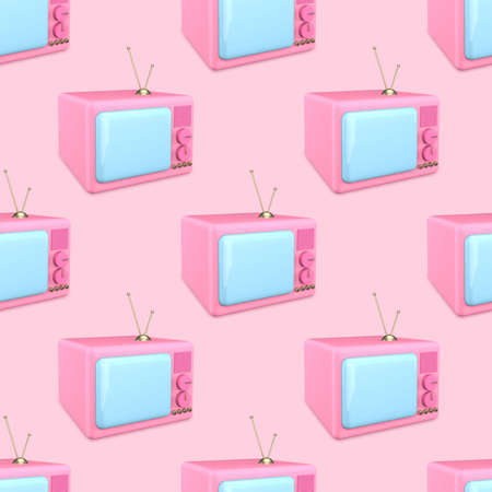 Seamless pattern 3d render of an old TV. Pink cartoon TV with blue screen on a pink background. Beauty news concept.
